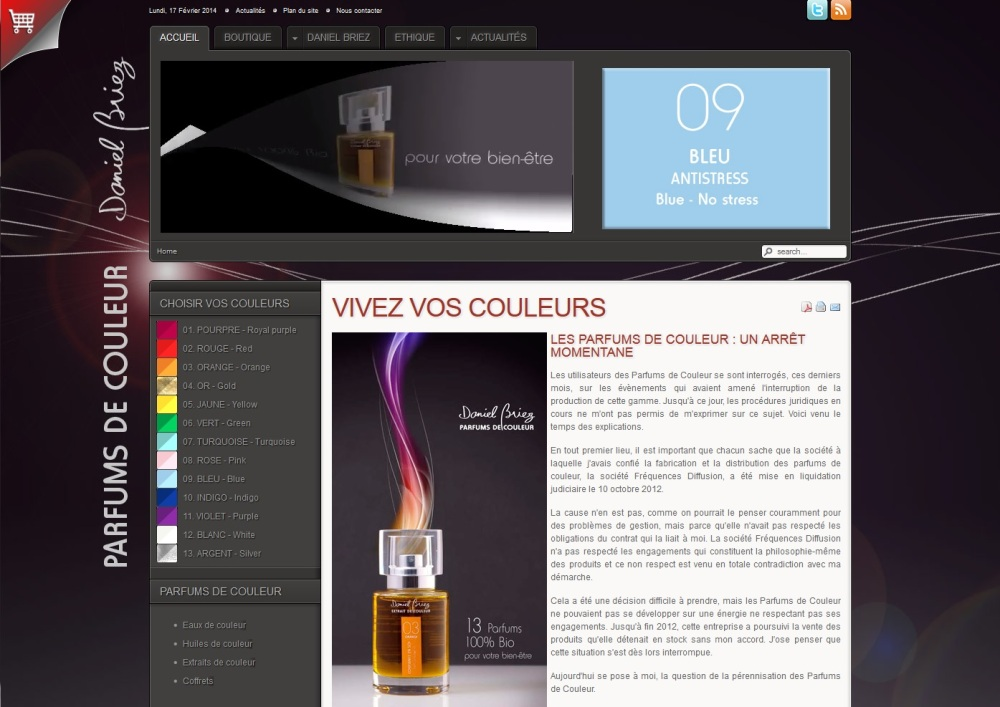 Site institutionnel, Parfums de couleur, Daniel Briez