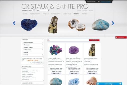 Site grossiste, fournisseur en cristaux et minéraux du monde, réalisé en 2011 par cap médiations. Photographies et illustrations de Serge Briez