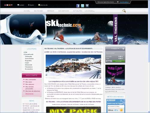 copie d'écran site ski-technic.com