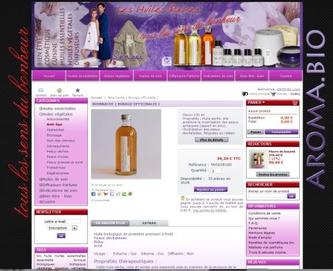 Fiche produit de la e-boutique Huiles rares, réalisé en 2010 par Cap Médiations, Photographies et illustrations de Serge Briez