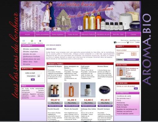Boutique en ligne Huiles rares réalisé en 2010 par Cap Médiations, Photographies et illustrations de Serge Briez
