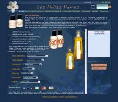 Boutique en ligne Huiles rares réalisé en 2007 par Cap Médiations. Photographies et illustrations de Serge Briez