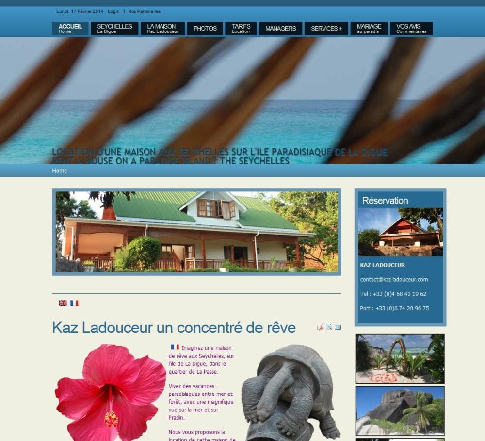 site internet de Kaz Ladouceur, location maison aux Seychelles, La Digue