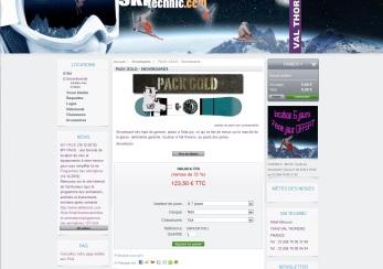 Fiche produit du e-shop de location de matériel de ski à Valthorens réalisé par cap Médiations en 2010. Photographies et illustrations de Serge Briez