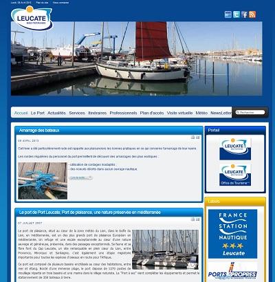 Site internet du port de Leucate, création et maintenance Cap Médiations 2009