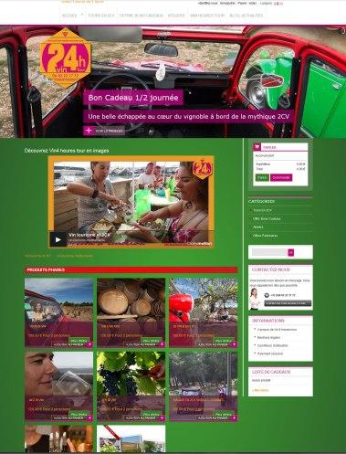 Boutique de la société Vin 4 heures tour, vin-tourisme-mediterranee.com réalisé en 2015 par Cap Médiations. Photographies et illustrations de Serge Briez