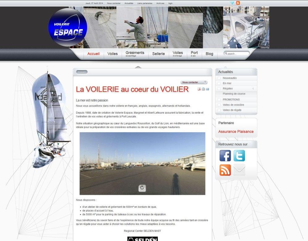 Site internet de Voilerie Espace, réalisé par Cap médiations en 2009