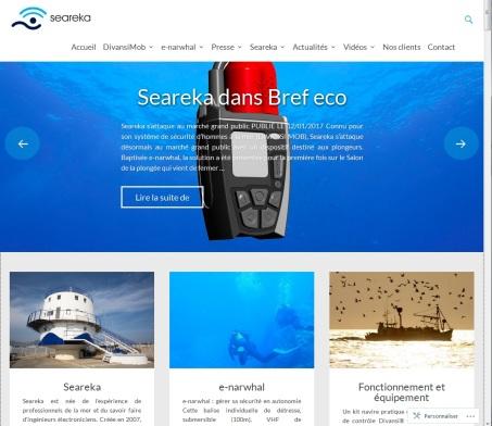 Site web de la société Seareka spécialisé dans les équipements de sécurité pour les activités nautiques