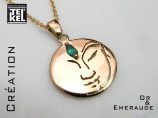 Pendentif en or et émeraude, création Telkel, bijouterie à Toulouse