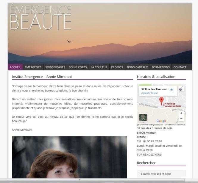 Page d'accueil du nouveau site Emergence Beauté réalisé en 2014 Par Cap Médiations