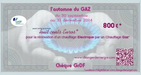 Chèque GrDF réalisé par Serge Briez de Cap Médiations dans le cadre de la campagne de promotion l'Automne du gaz 2014