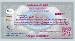 Chèque installateur Elne Chauffage service réalisé par Serge Briez de Cap Médiations dans le cadre de la campagne de promotion l'Automne du gaz 2014