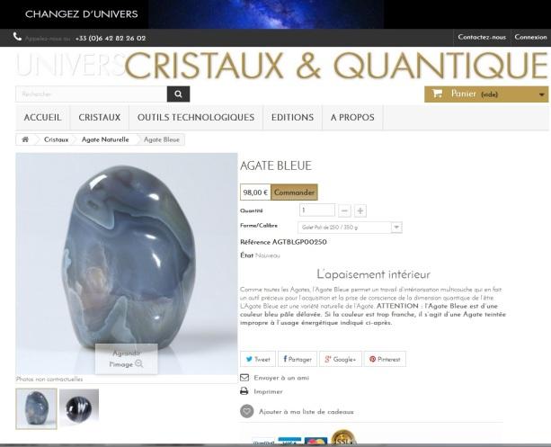 Fiche produit de la boutique en ligne Cristaux & quantique réalisée par Cap médiations en 2015. Photographies et illustrations de Serge Briez