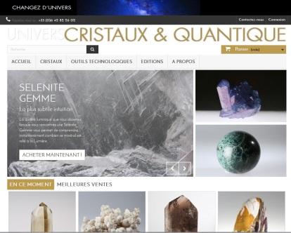 Page d'accueil de la boutique en ligne Cristaux & quantique réalisée par Cap médiations en 2015. Photographies et illustrations de Serge Briez