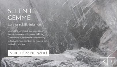 Visuel du diaporama de la page d'accueil de la boutique en ligne Cristaux & quantique réalisée par Cap médiations en 2015, photos des cristaux par Serge Briez
