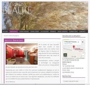Page présentation de l'institut de beauté du nouveau site Emergence Beauté réalisé en 2014 Par Cap Médiations