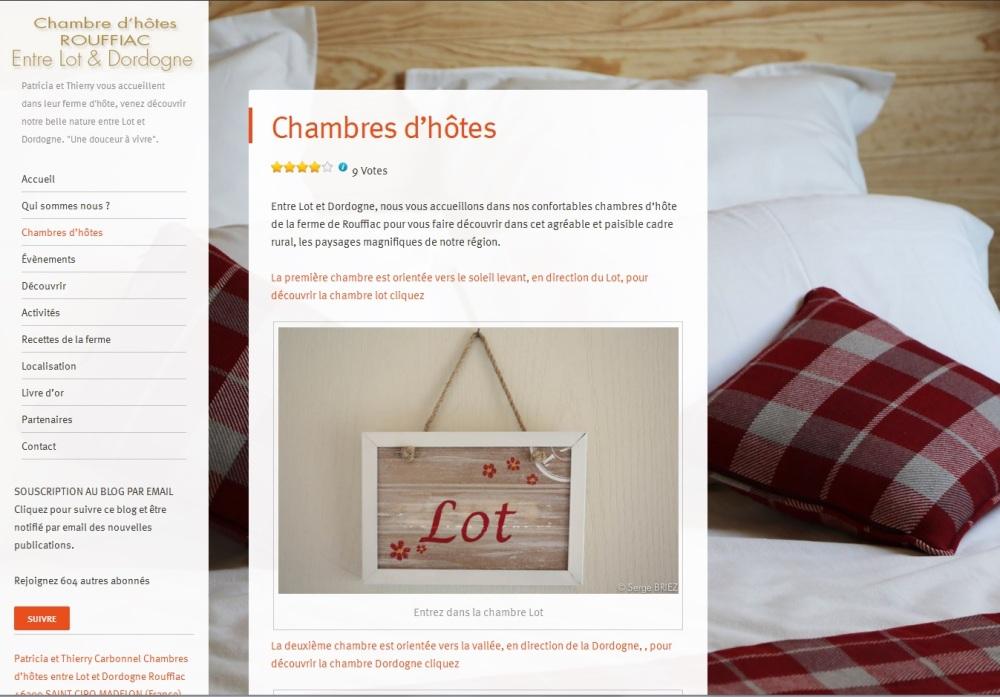 Site web des Chambres d'Hôte de rouffiac, réalisé par Cap Médiations 2013