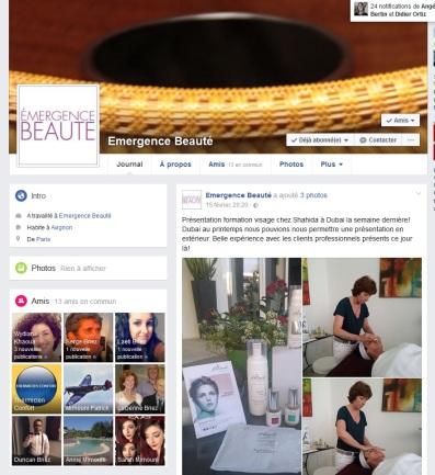 Compte facebook d'Emergence Beauté, spa urbain d'Avignon. Création et Formation de l'animatrice par Cap Médiations 2015