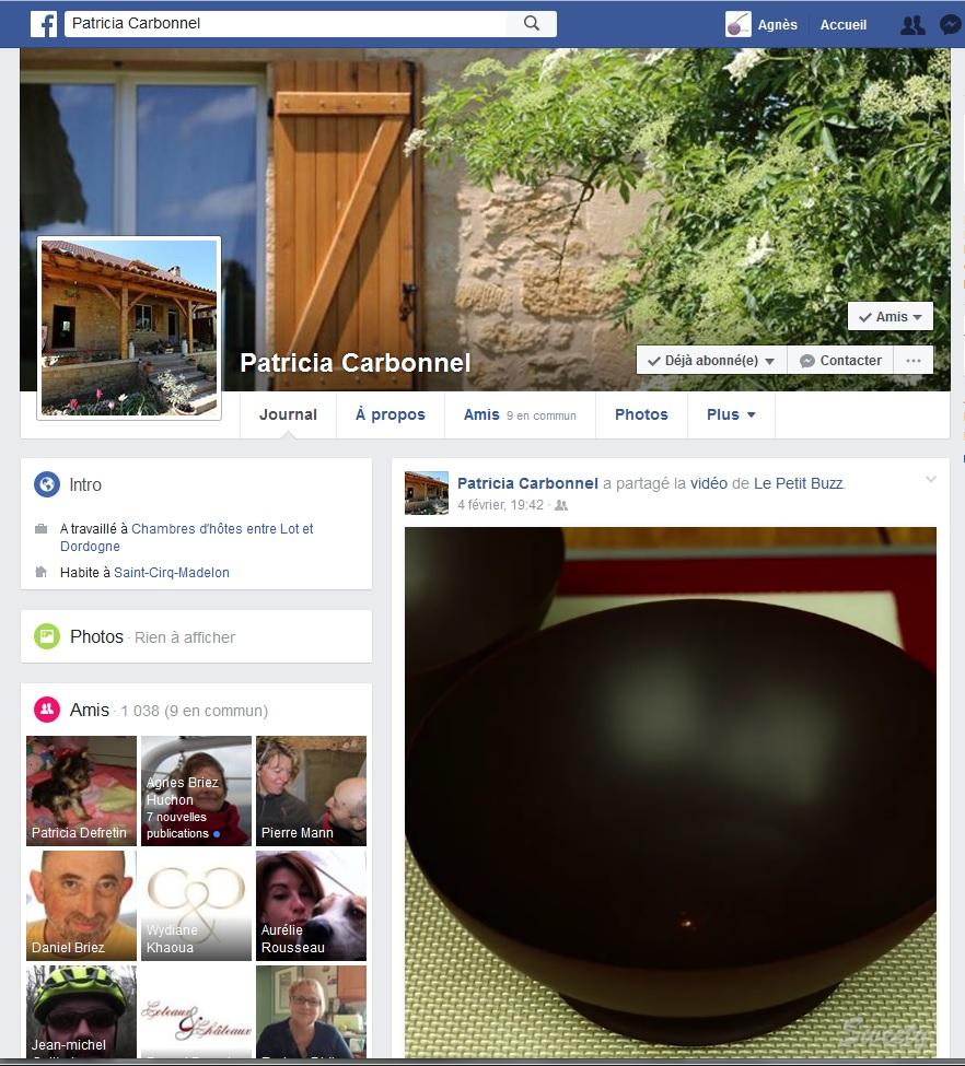 Compte facebook entre Lot et Dordogne animé par Patricia Carbonel et créé par Cap Médiations pour la promotion des Chambres d'hôtes de Rouffiac