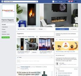 Page facebook de Flamme Magazine, groupement de professionnels pour la promotion des poêles et cheminées au gaz