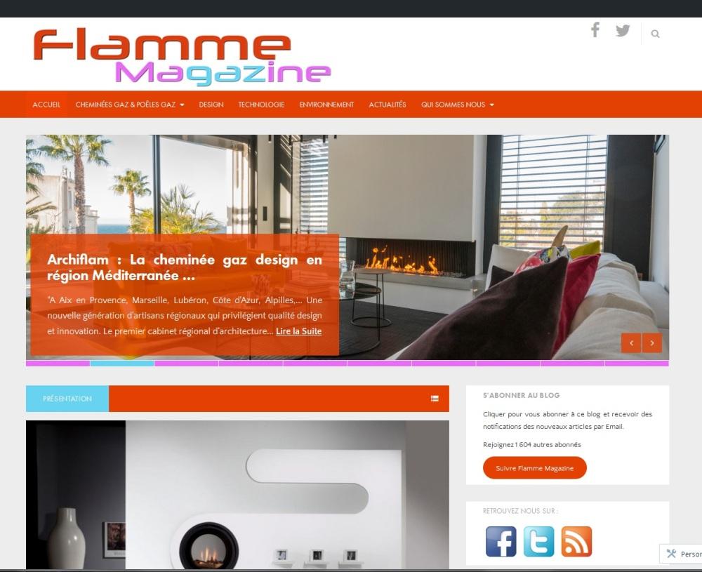 Page d'accueil de Flamme Magazine, Actualités produits, technologie et environnement sur les poêles et cheminées au gaz.