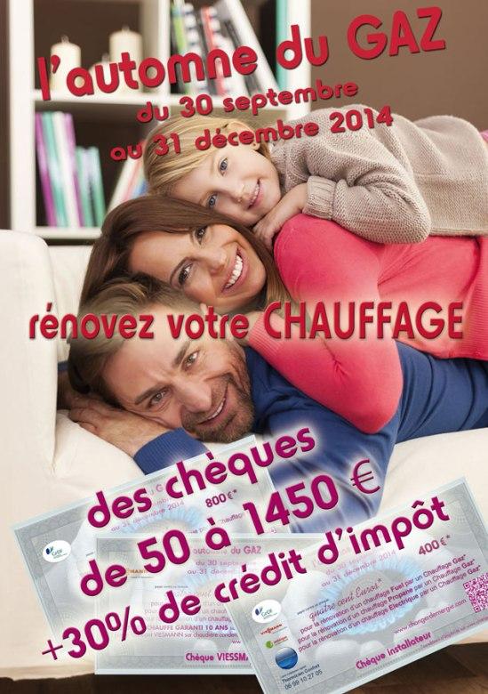 Flyer Recto de la campagne l'Automne du gaz 2014 sur l'Aude et les Pyrénées orientales, réalisé par Serge Briez de Cap Médiations