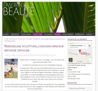 Page présentation d'un soin corps en promotion sur le nouveau site Emergence Beauté réalisé en 2014 Par Cap Médiations