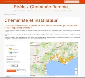 Géolocalisation des professionnels de la filière, installateurs et/ou cheministes sur la région Méditerranée