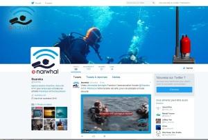 Compte Twitter de Seareka pour le lancement de enarwhal la nouvelle VHF de sécurité pour la plongée. Mise en place par Cap Médiations