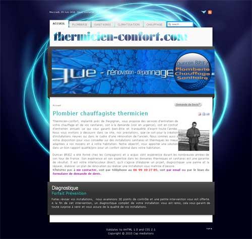 Ancien site web de Thermicien Confort créé en 2008 par cap Médiations