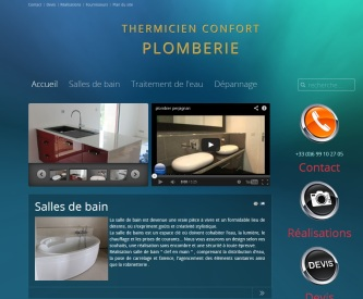 Site web Plomberie sanitaires de Thermicien confort ; http://plomberie-perpignan.fr réalisé en 2012 par Cap Médiations