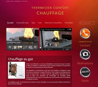 Site web chauffage de Thermicien confort ; http://chauffage-perpignan.fr réalisé en 2012 par Cap Médiations