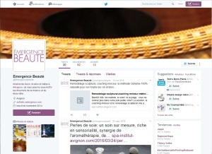 Compte Twitter d'Emergence Beauté, spa urbain d'Avignon. Création et Formation de l'animatrice par Cap Médiations