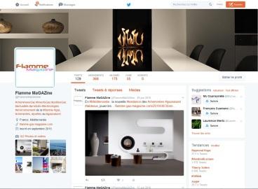Compte Twitter de Flamme Magazine, groupement de professionnels pour la promotion des poêles et cheminées au gaz
